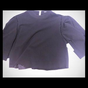 Black quarter sleeve, high neck, crop top